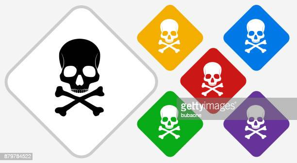 Skull and Bones Color Diamond Vector Icon