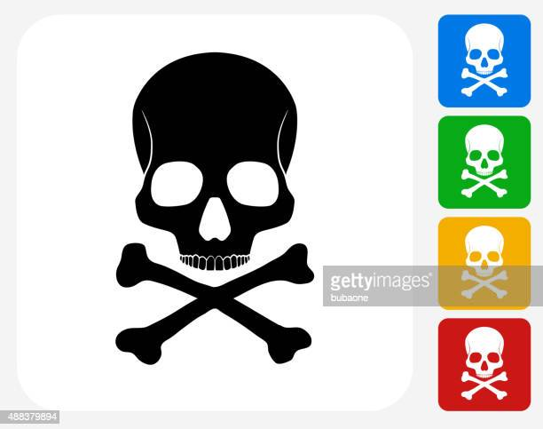 skull and bones icon flat graphic design - terminal illness stock illustrations, clip art, cartoons, & icons
