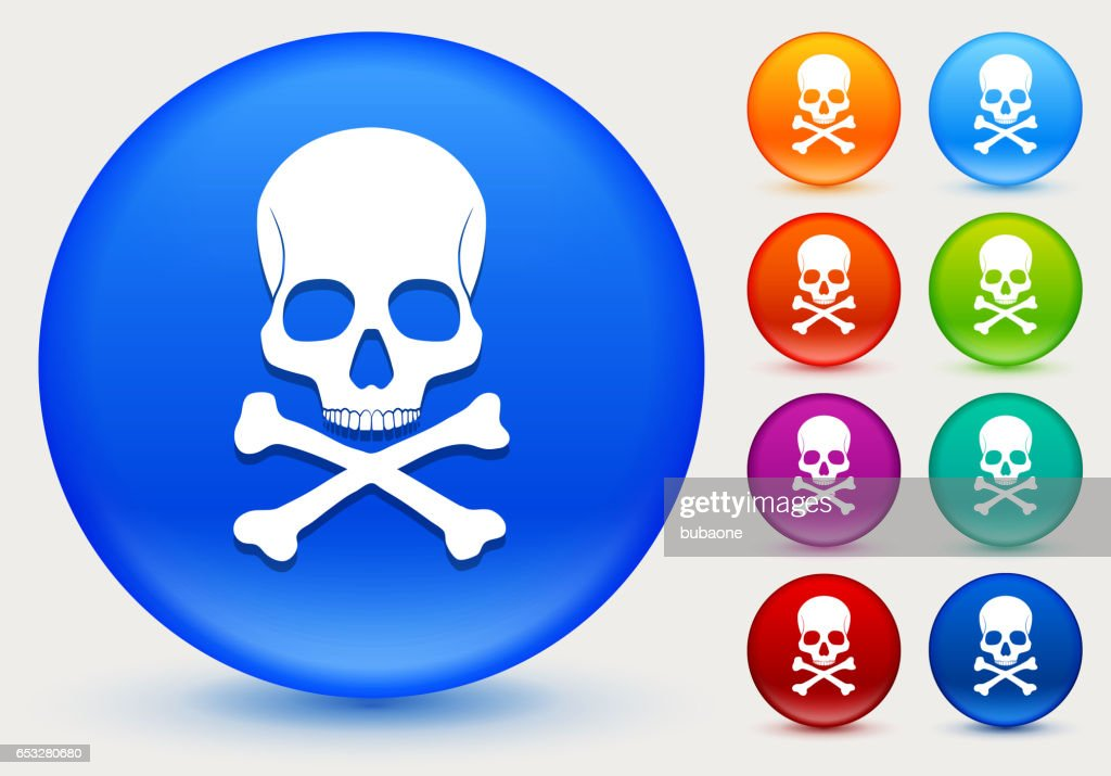 Skull and Bones Icon on Shiny Color Circle Buttons : Vector Art