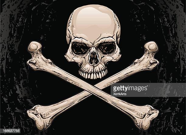 スカルと骨 - 海賊旗点のイラスト素材/クリップアート素材/マンガ素材/アイコン素材