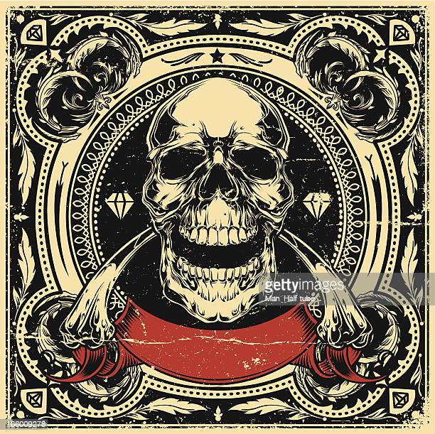 skull and bones - woodcut stock illustrations