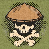 Skull and cross-bone with asian hat