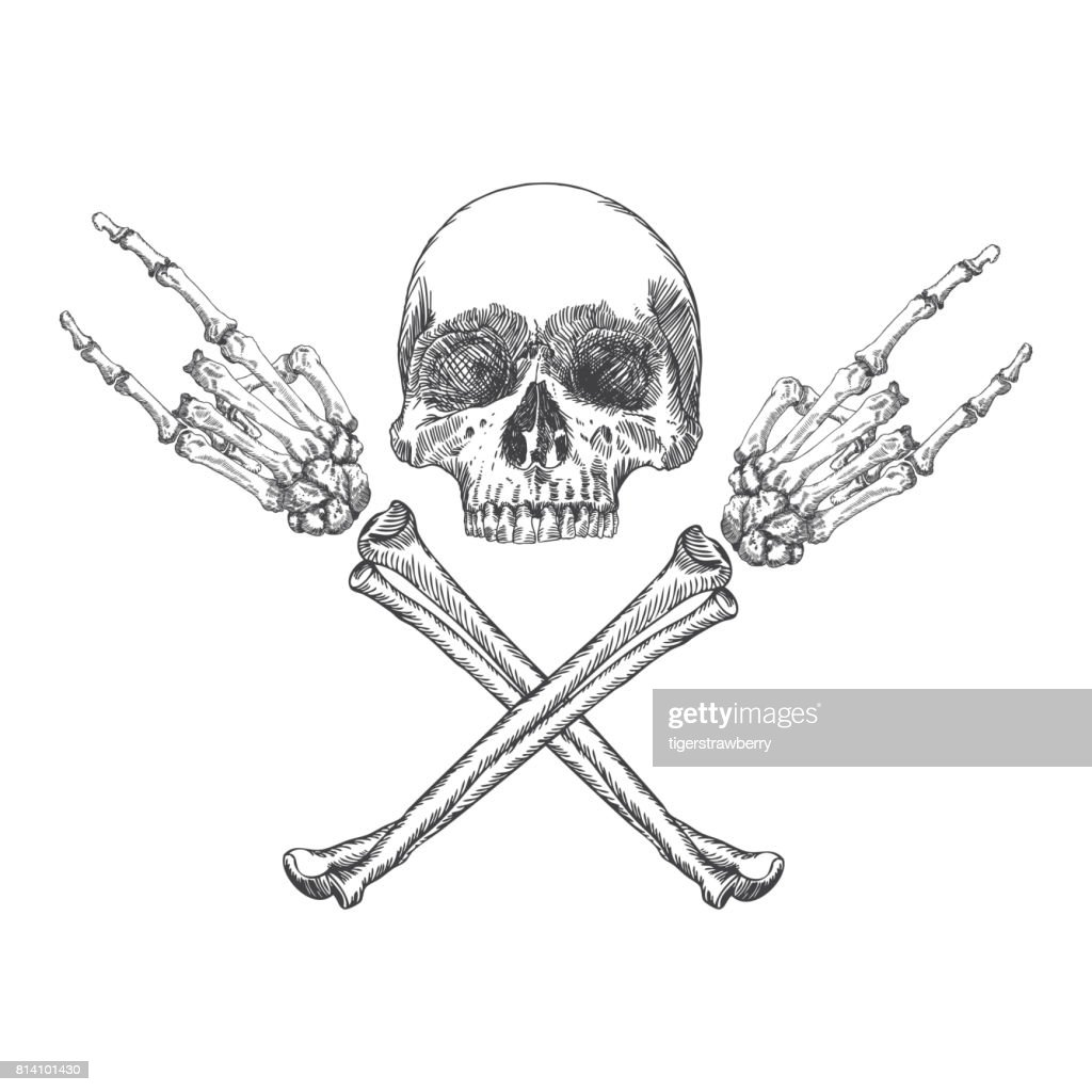 Skull and crossbones hands with gesture of heavy metal, rock and satan. Handmade detailed drawing. Vector illustration.