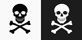 Skull and Crossbones Icon on Black and White Vector Backgrounds