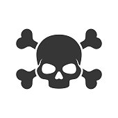 Skull and Crossbones Icon on White Background. Vector