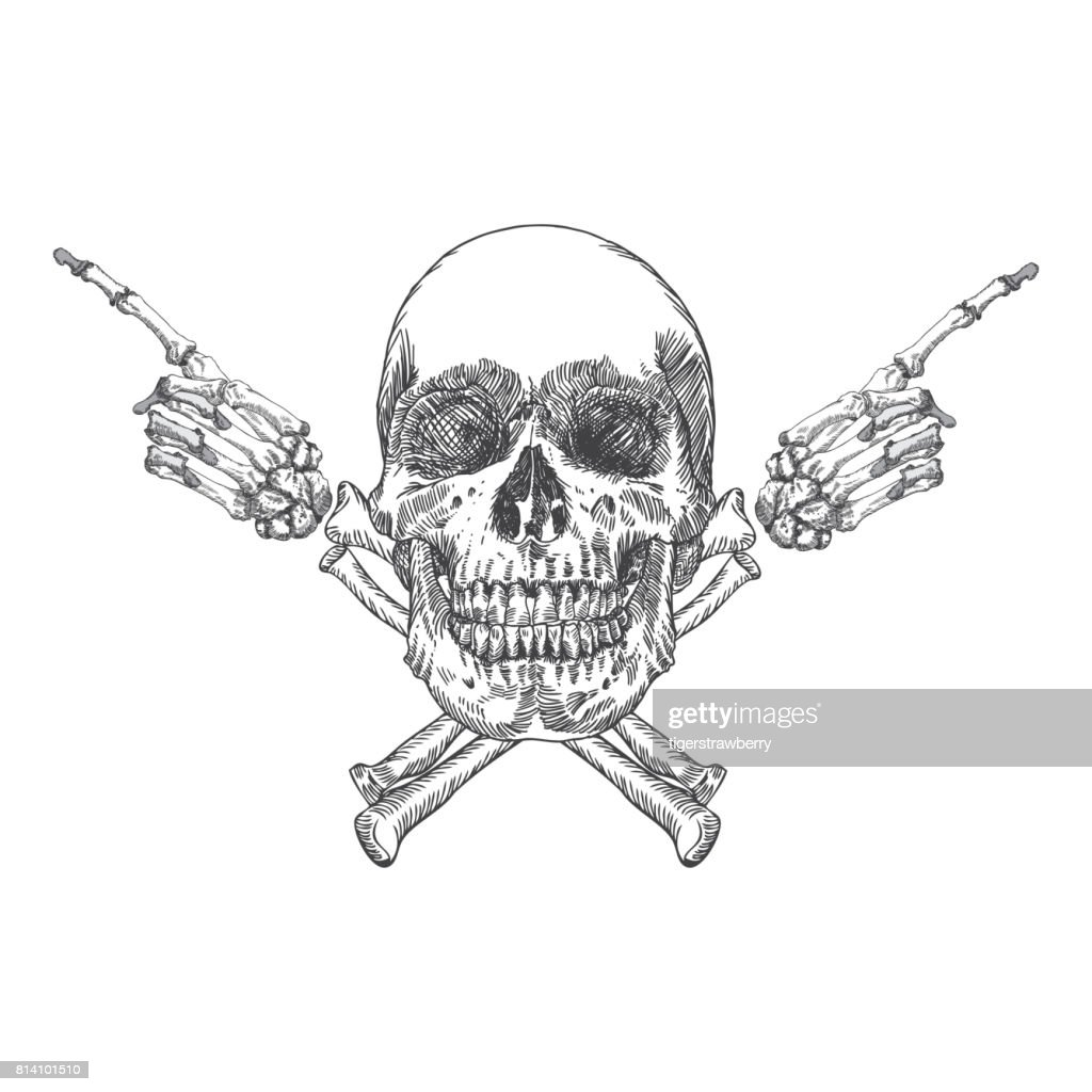 Skull and crossbones made of hands with gestures. Handmade detailed drawing. Vector illustration.