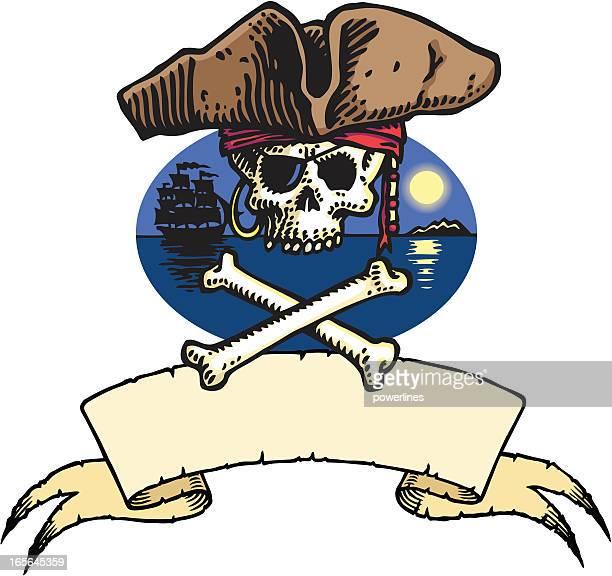skull and crossbones - kong: skull island stock illustrations