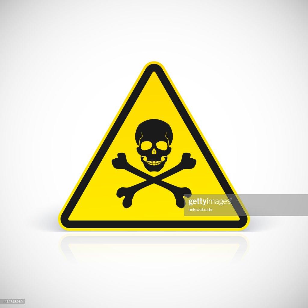 Skull and crossbones warning hazard sign
