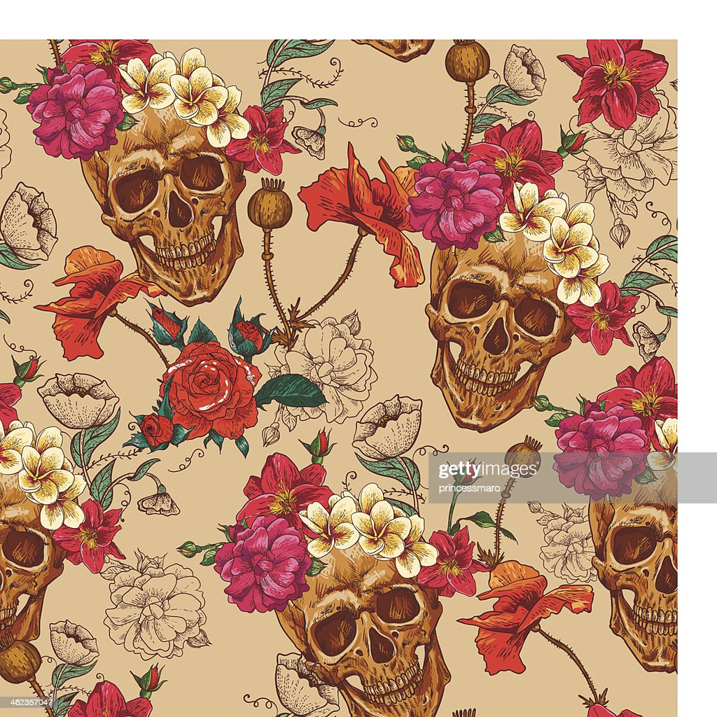 A Skull and Flowers Seamless Background