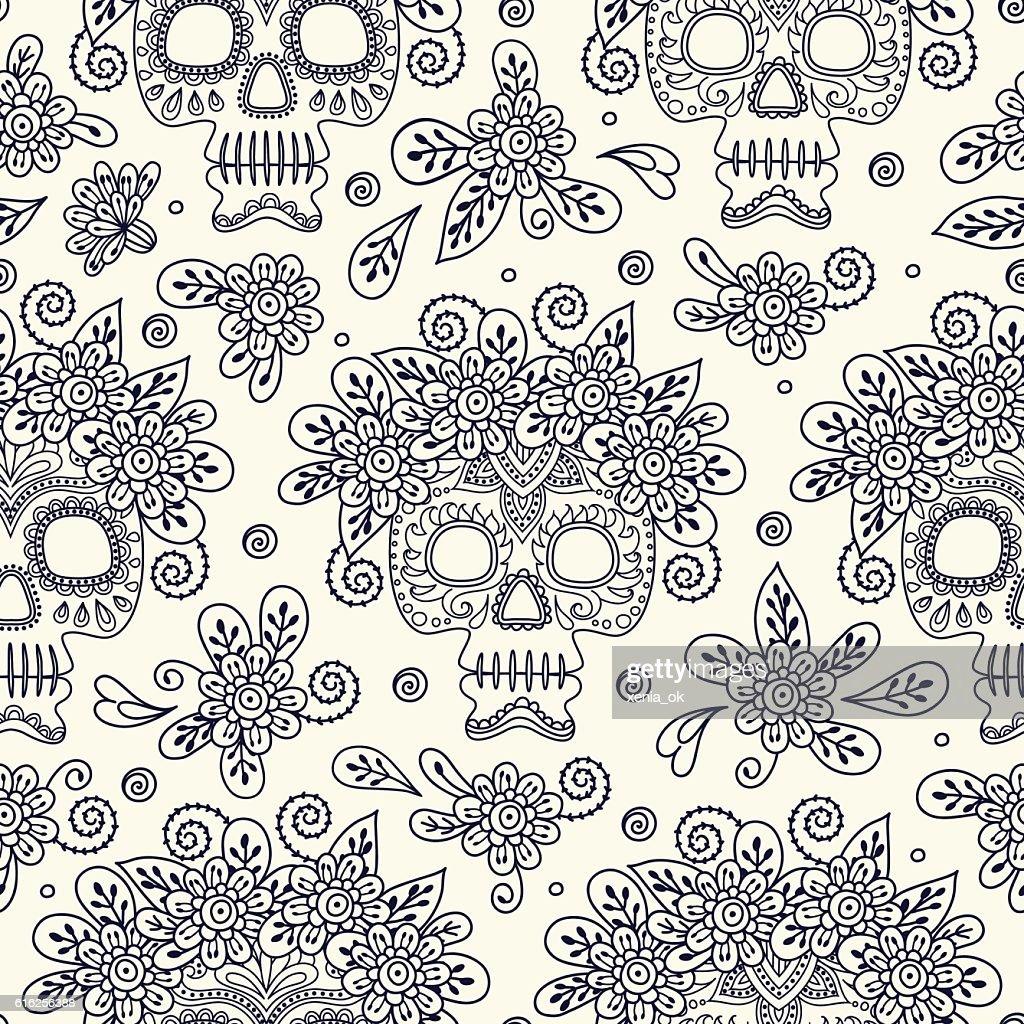 Cráneo y flores : Arte vectorial