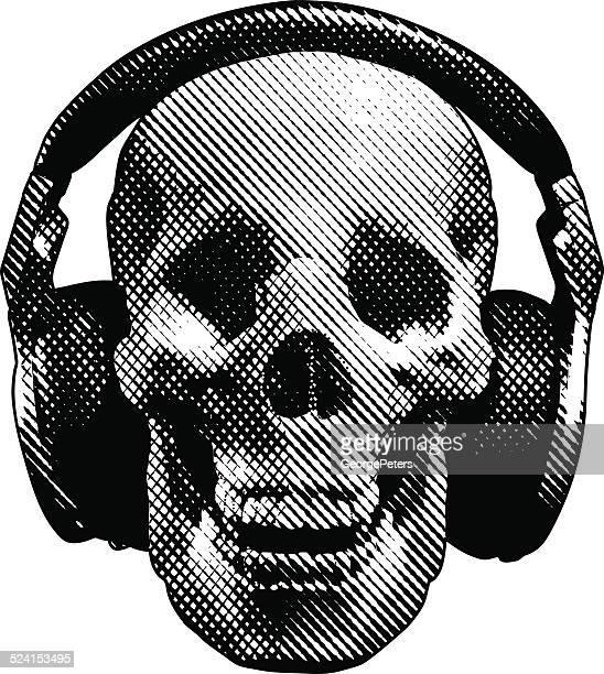 スカルとヘッドフォン - punk rock点のイラスト素材/クリップアート素材/マンガ素材/アイコン素材