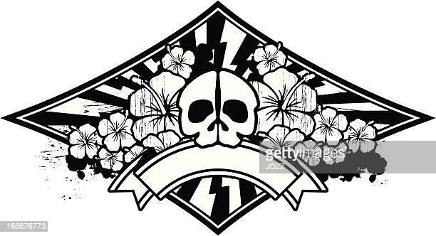 skull and hibiscus emblem - kong: skull island stock illustrations