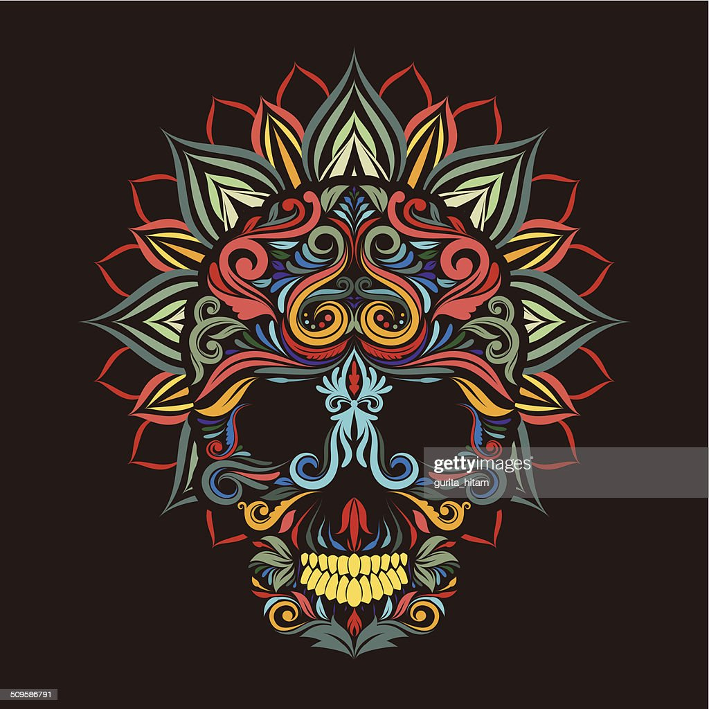 Skull and lotus flower vector art getty images skull and lotus flower vector art izmirmasajfo