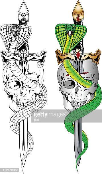 ilustraciones, imágenes clip art, dibujos animados e iconos de stock de cráneo y serpiente - cobra