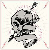 Skull Arrow and Ribbon
