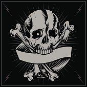 Skull bone cross and Ribbon