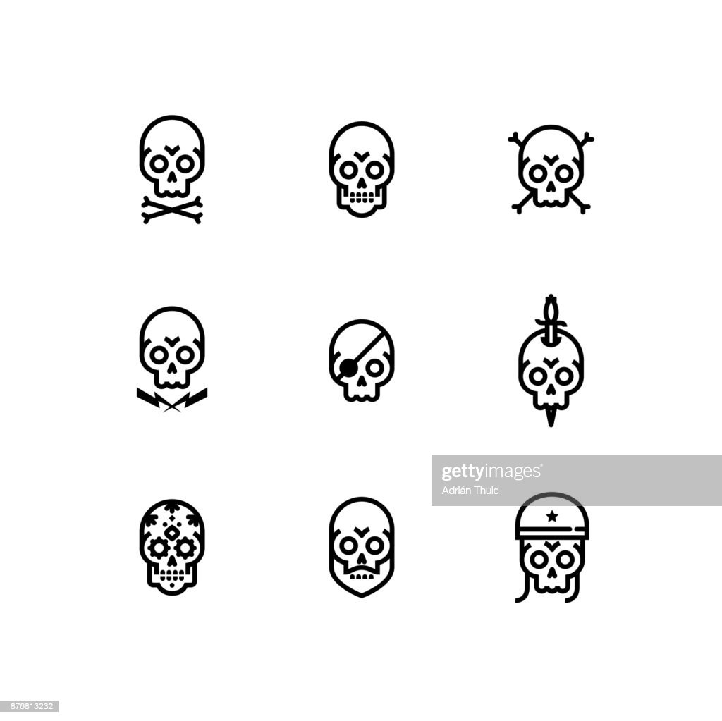 Skull Bone Head Skeleton Icon Set