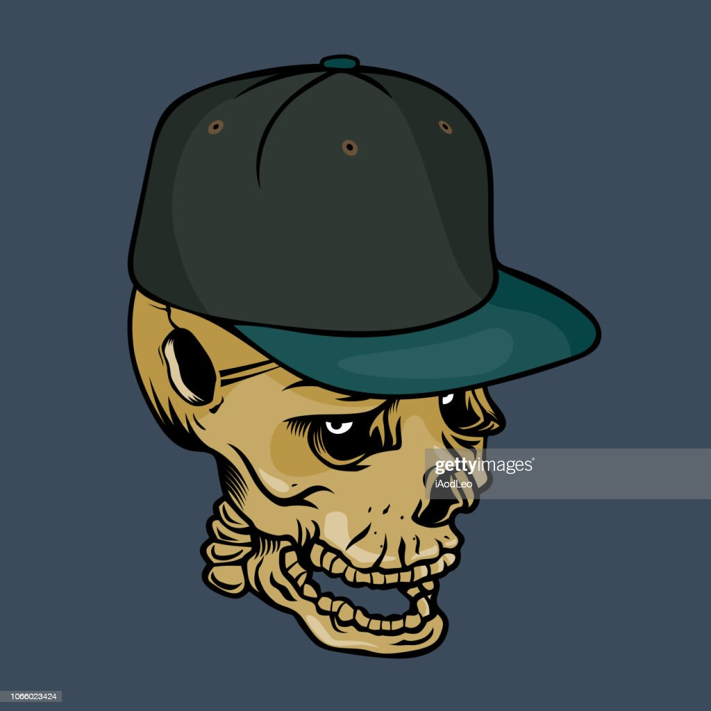 Skull character with hip-hop style.