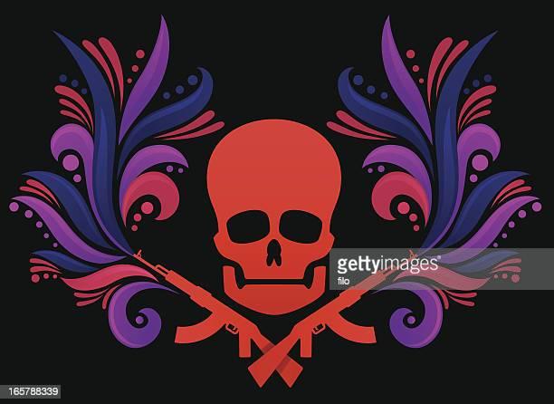 ilustraciones, imágenes clip art, dibujos animados e iconos de stock de la decoración de cráneo - ak 47