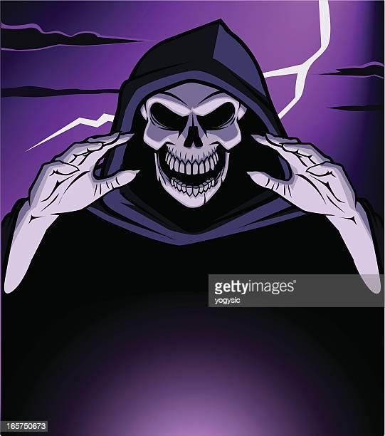 ilustraciones, imágenes clip art, dibujos animados e iconos de stock de cráneo demonio - la muerte
