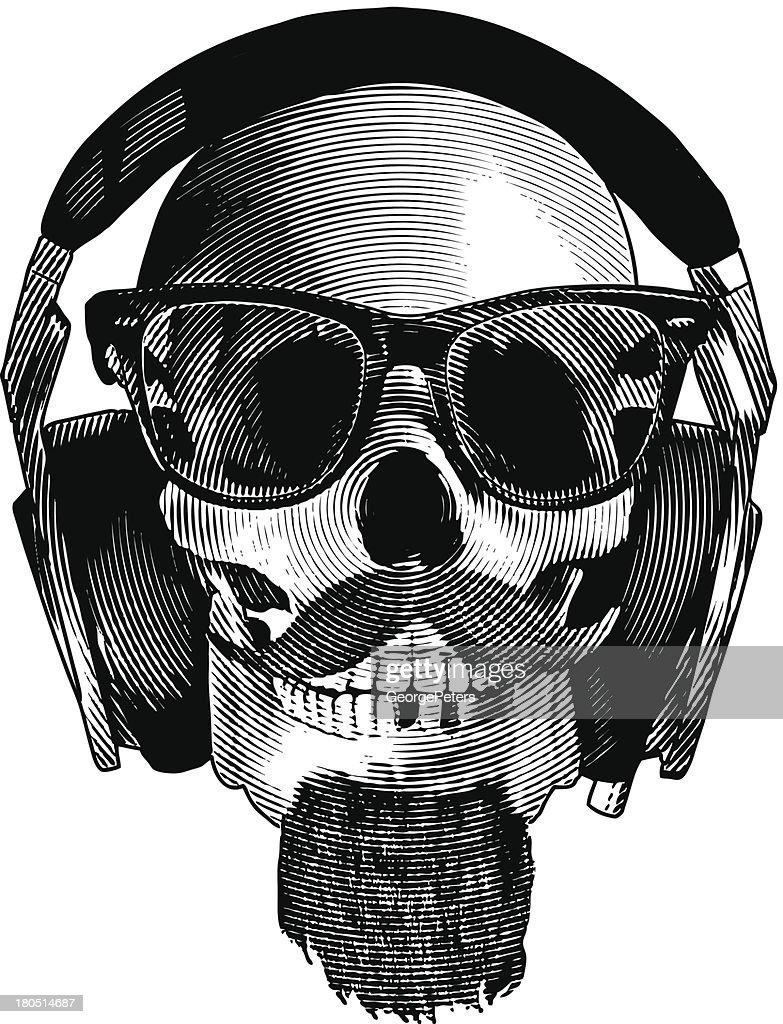 Skull Hipster Headphones : stock illustration