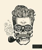 Skull. Hipster  silhouette with mustache, beard, tobacco pipes and glasses