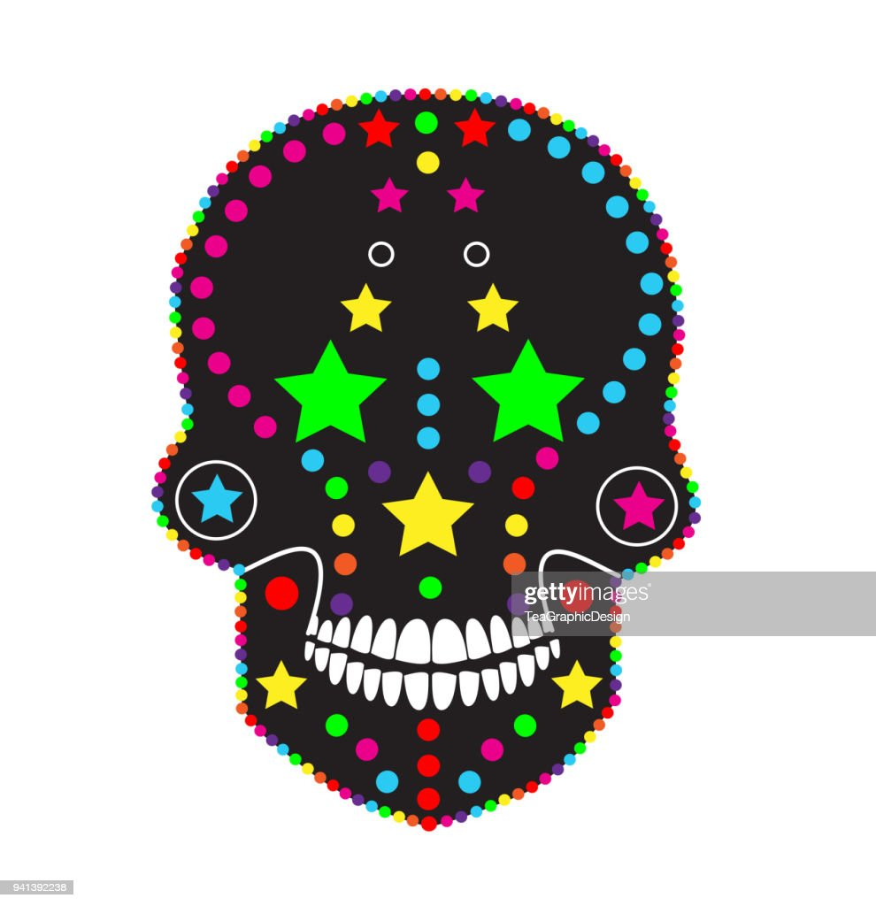 Skull icon abstract colorful background