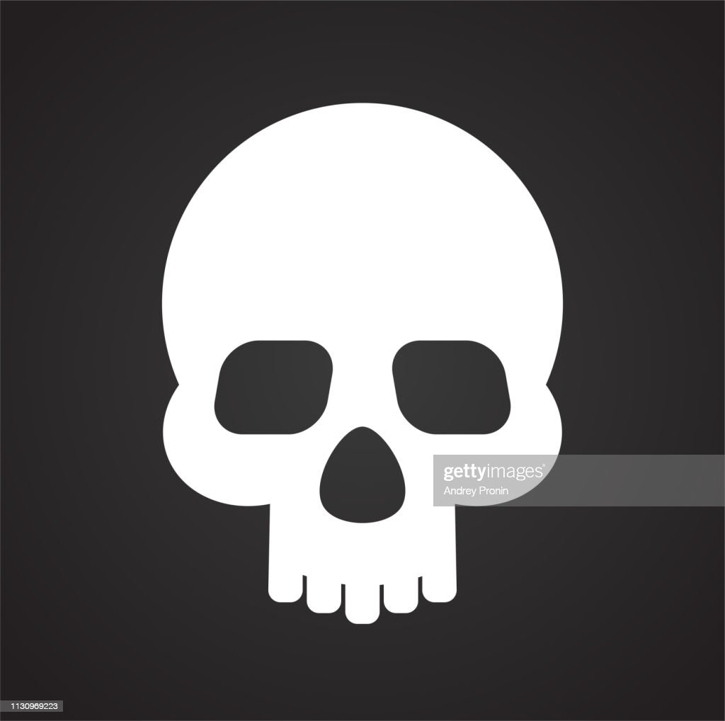 Skull icon on black background for graphic and web design, Modern simple vector sign. Internet concept. Trendy symbol for website design web button or mobile app.