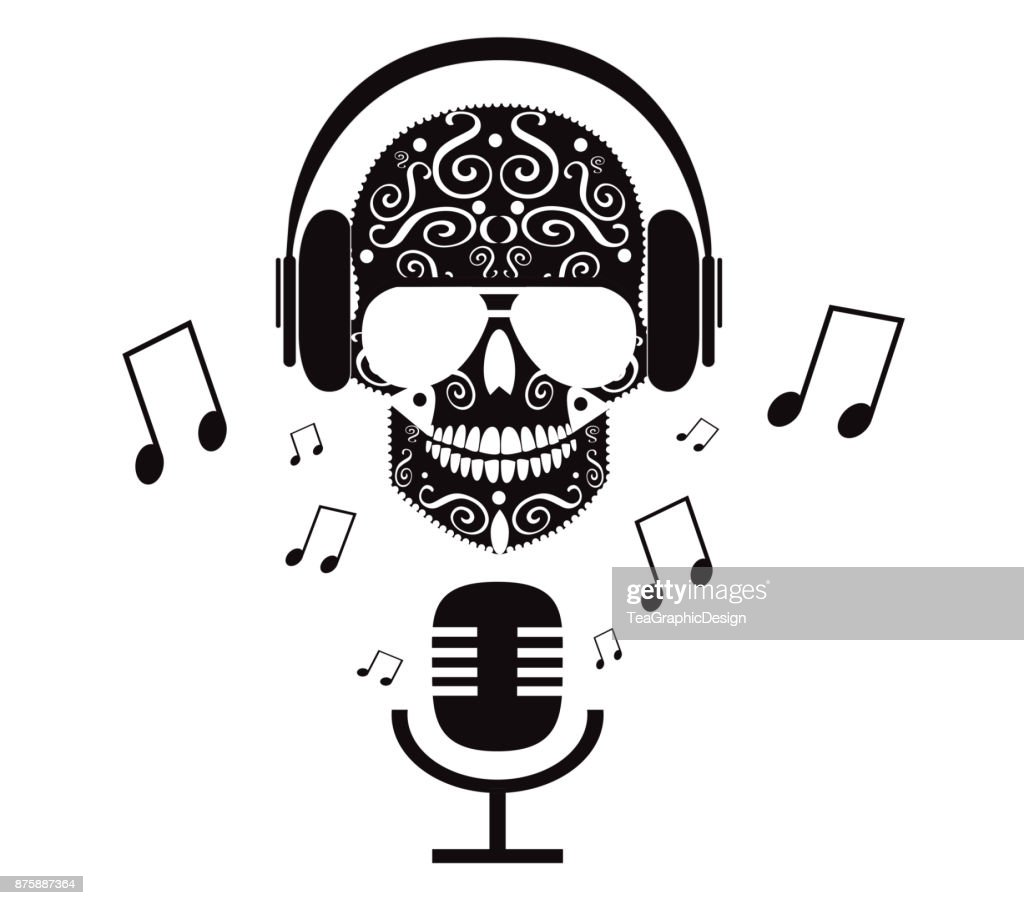 Skull icon with headphones and sunglasses, microphone and notes, vector black and white, DJ