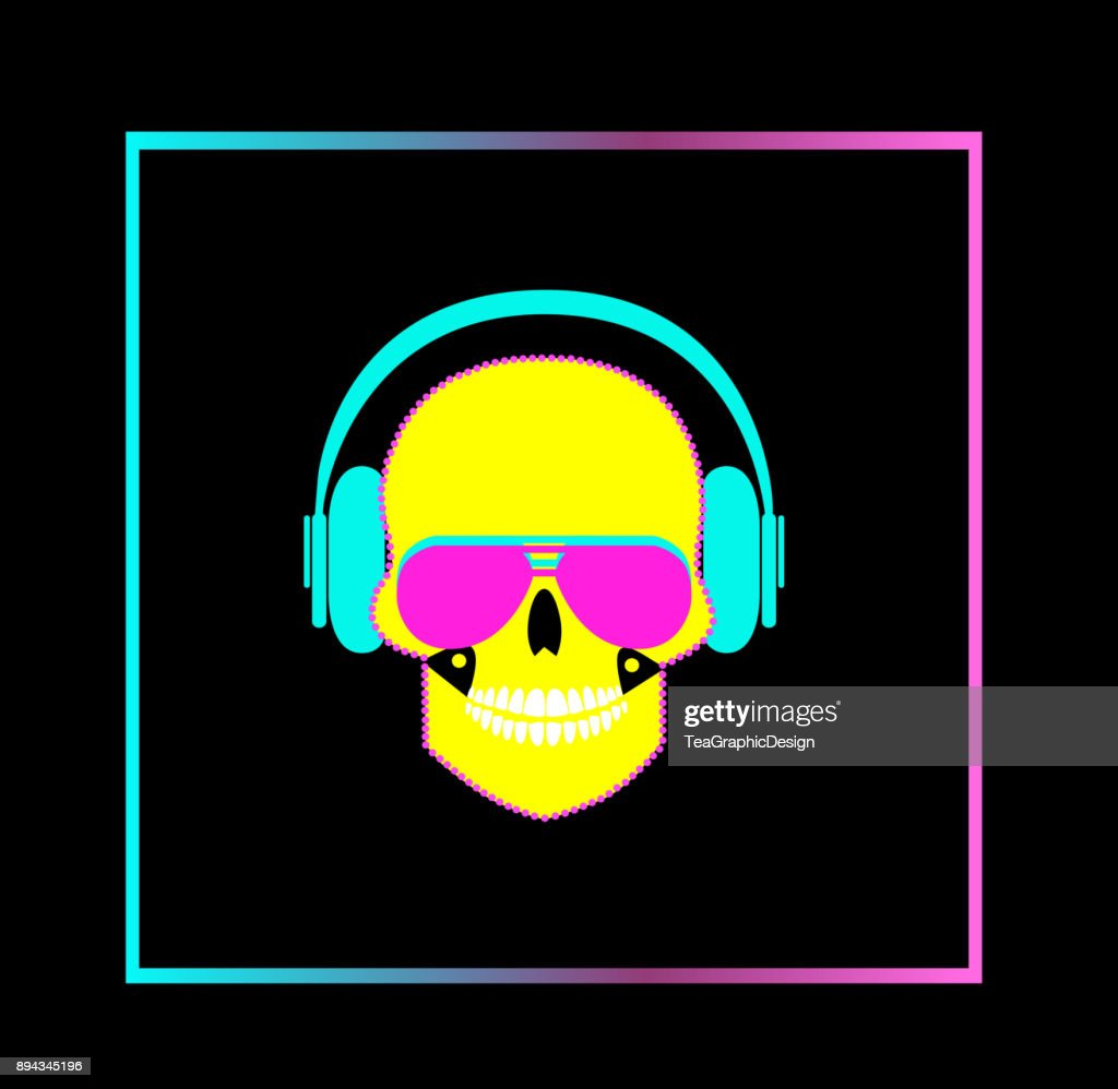 Skull icon with headphones and sunglasses vector rainbow gradient