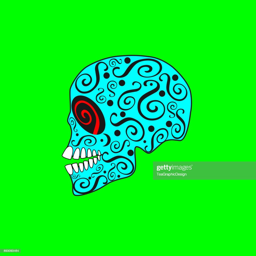 Skull icon with ornament details blue color