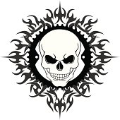 Skull In A Bike Chain Ring With Tribal Flame Background