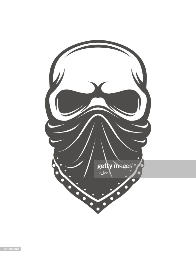 Skull in bandanna. Gangster