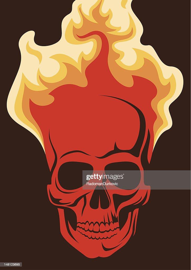 Skull in  fire.