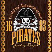 Skull in pirate hat -  design for badges, logos and