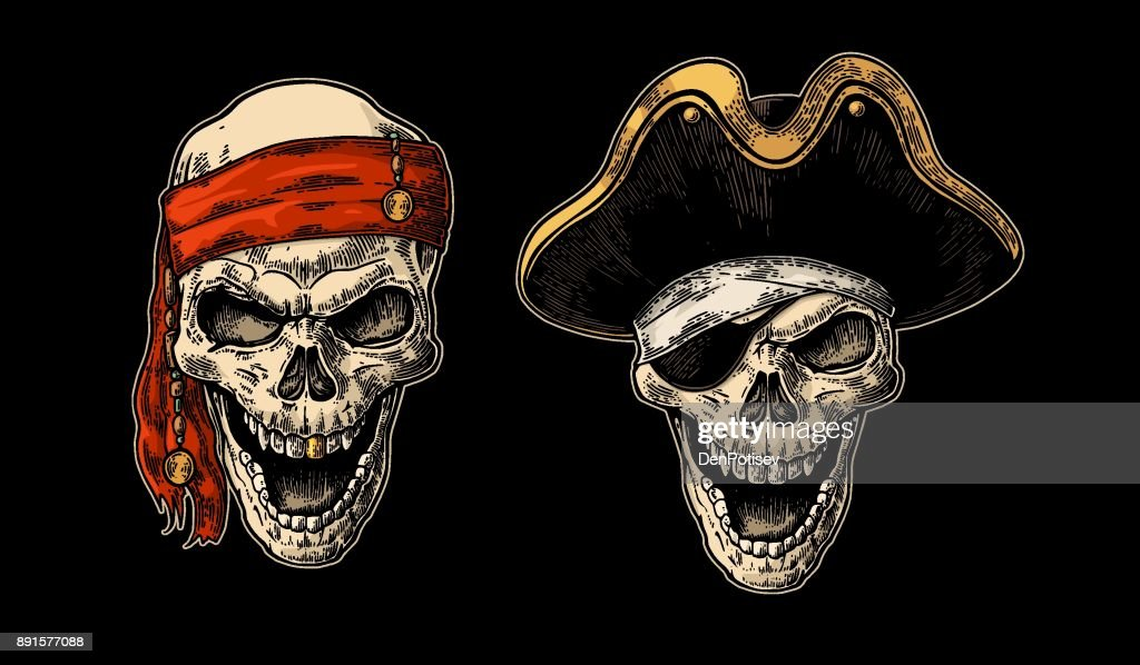 Skull in pirate with clothes eye patch, captain hat, bandana. Vintage engraving