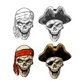 Skull in pirate with clothes eye patch, captainhat, bandana. Vintage engraving
