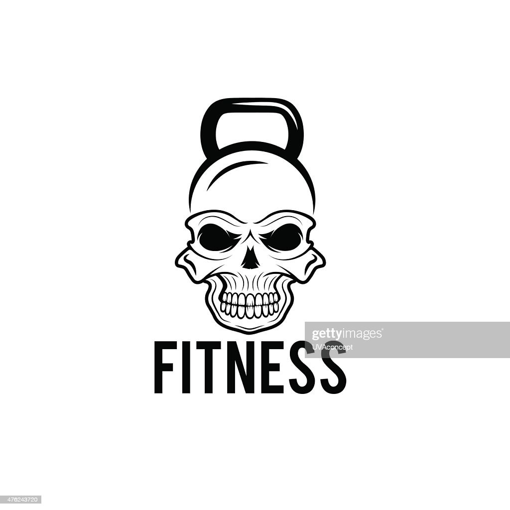 skull in the form of kettlebell fitness concept