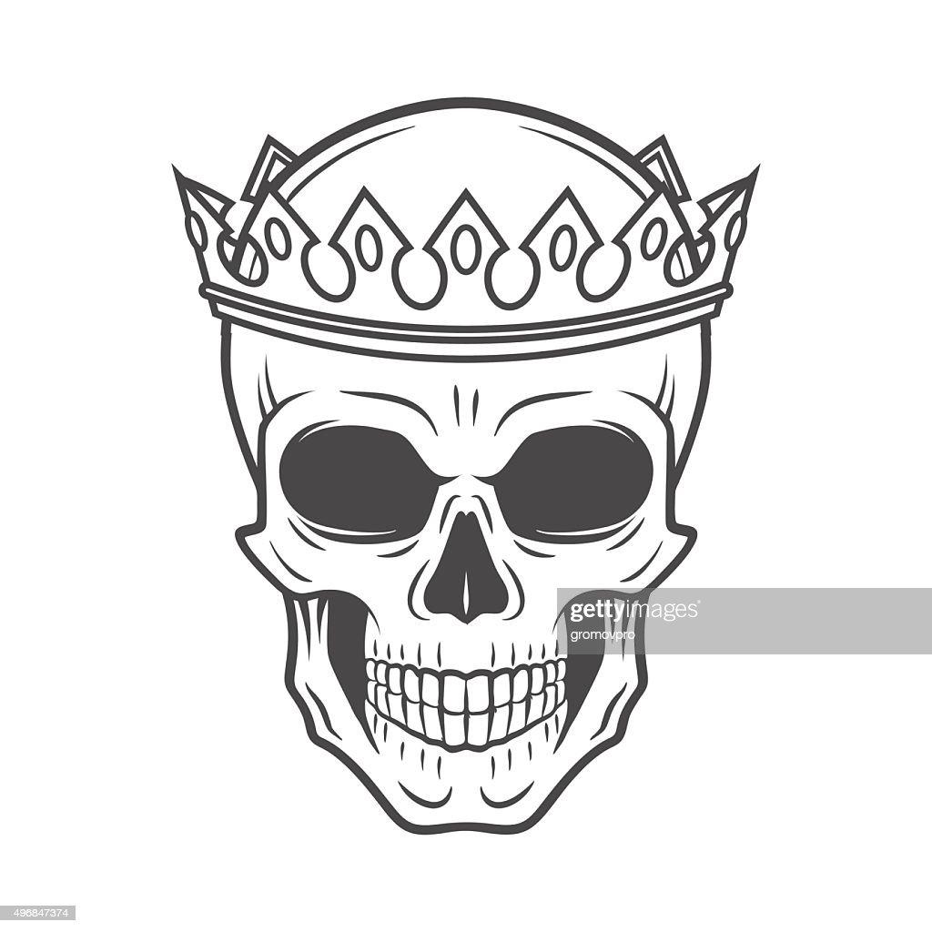 Skull King Crown design element. Vintage Royal t-shirt illustration