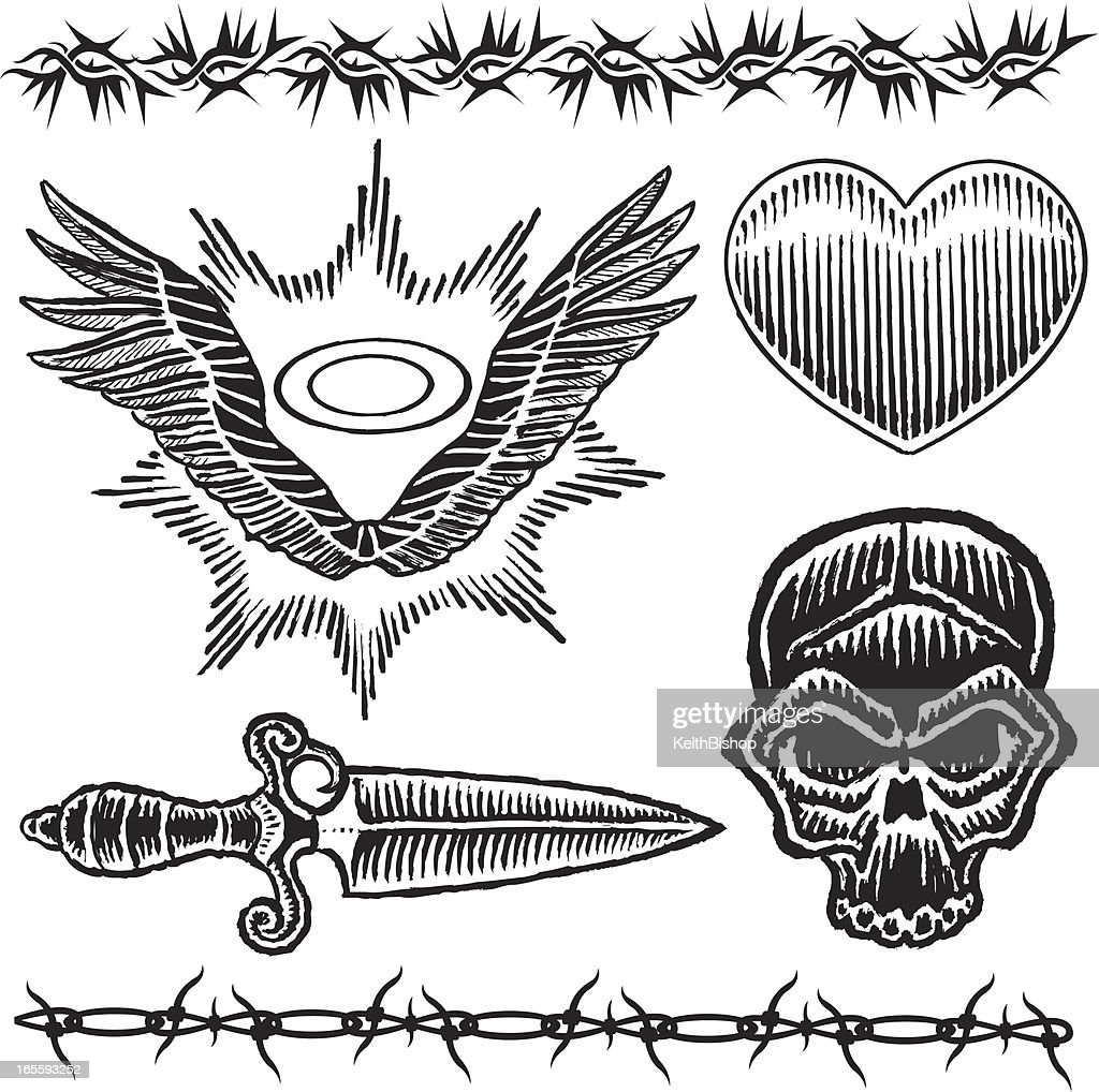 Skull Knife Heart Barbed Wire Wings And Halo Tattoo Designs Vector ...
