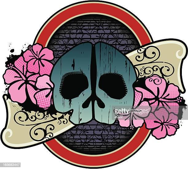 skull label - kong: skull island stock illustrations