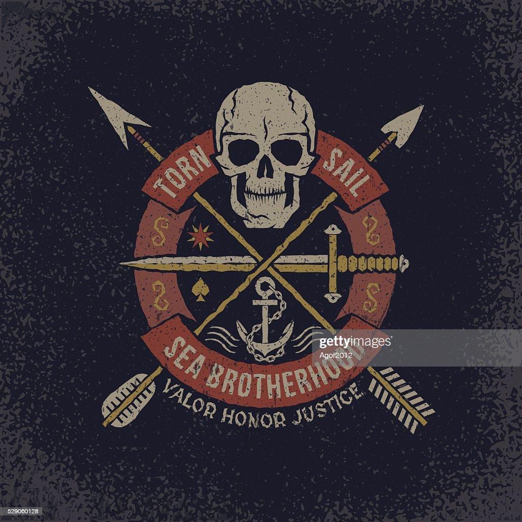 Skull logo in grunge