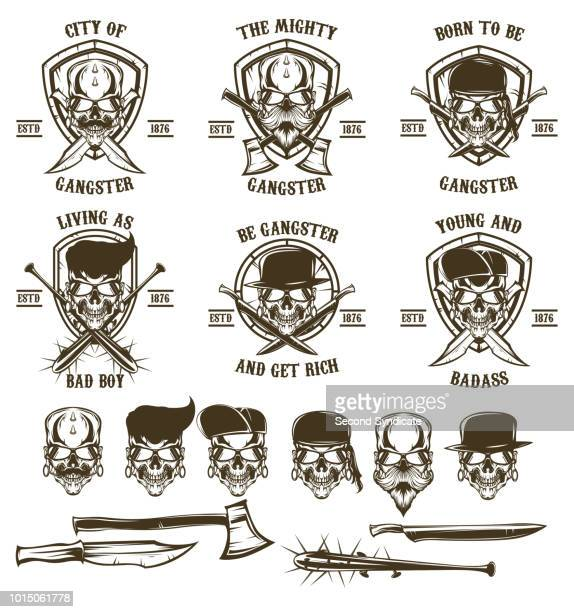 skull logo vector set - motorcycle helmet isolated stock illustrations, clip art, cartoons, & icons