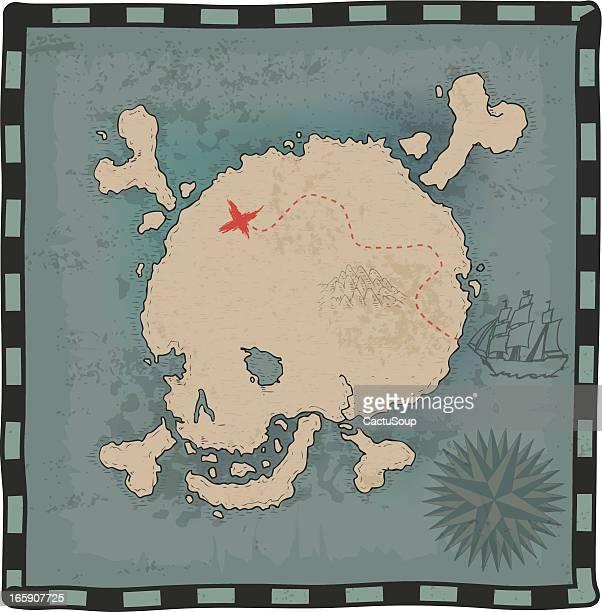 スカルマップ - 海賊旗点のイラスト素材/クリップアート素材/マンガ素材/アイコン素材