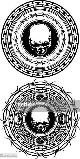 skull medalion - barbed wire stock illustrations