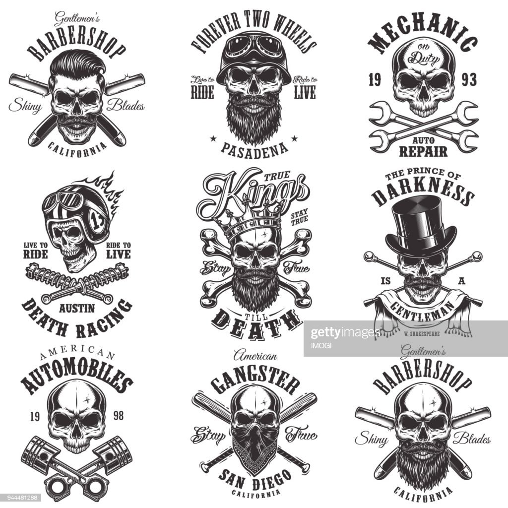 Skull monochrome emblems