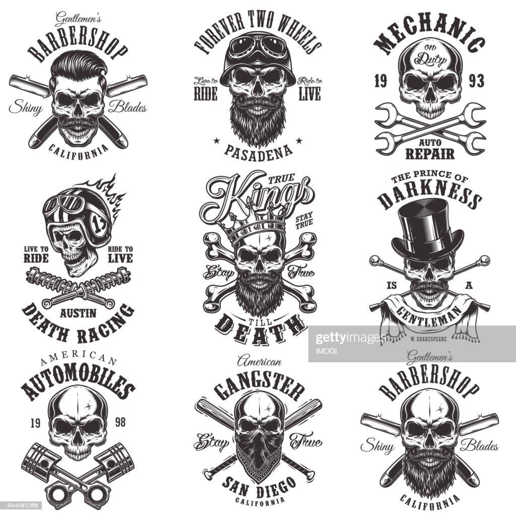 Skull monochrome emblems