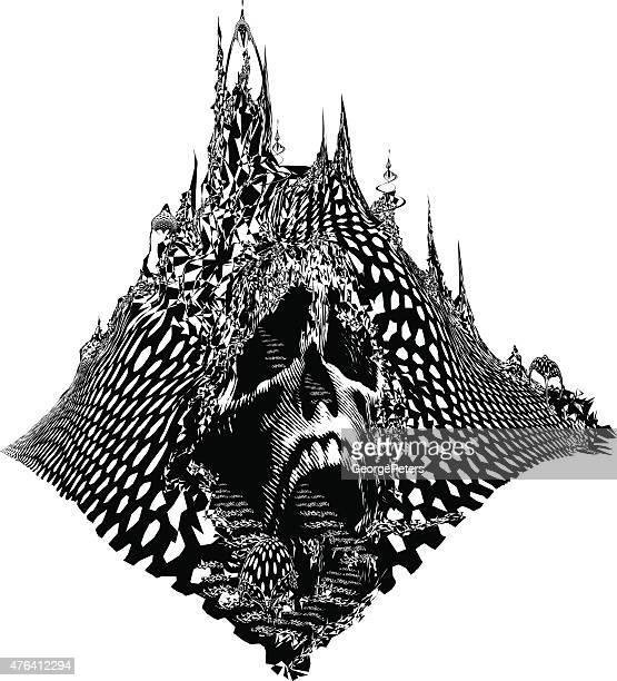 skull mountain. scary line art fantasy - goth stock illustrations, clip art, cartoons, & icons