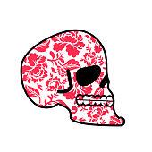 Skull of flowers. Head of skeleton and flower