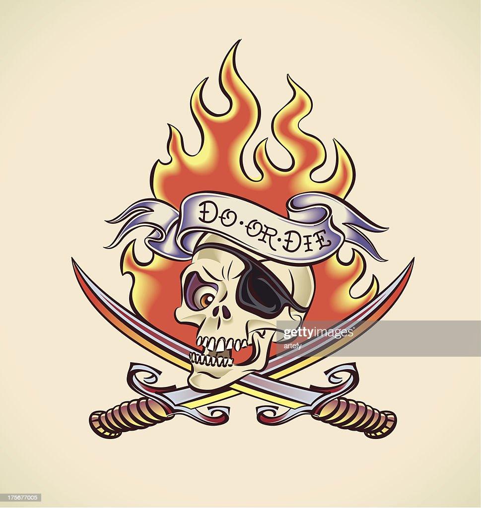 Skull of Pirate - tattoo design